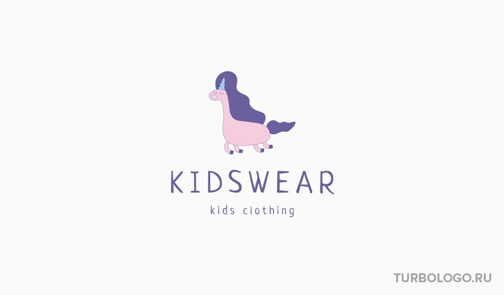 Логотип детского магазина единорог