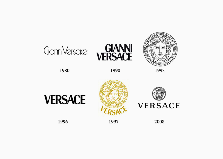 Логотипы Версаче разных годов