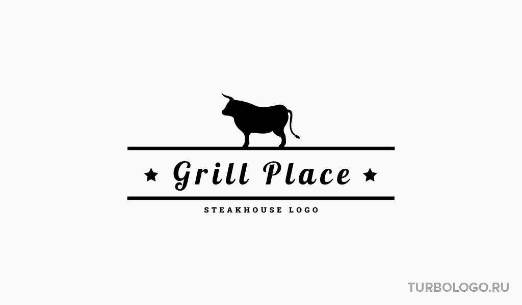 Черно-белый логотип бык