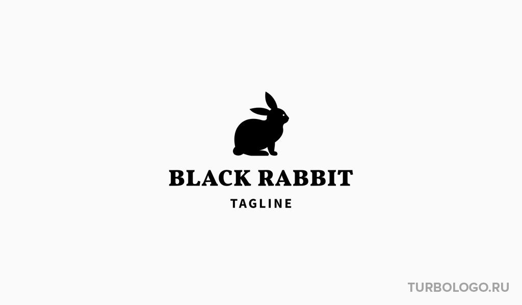 Черно-белый логотип кролик