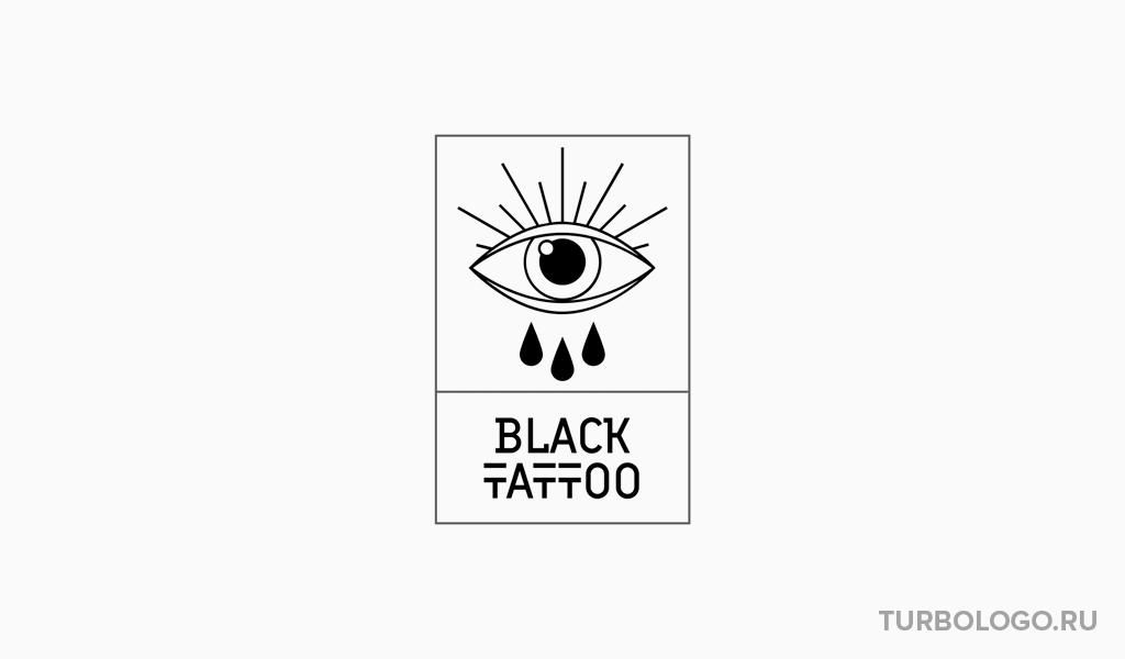 Черно-белый логотип тату