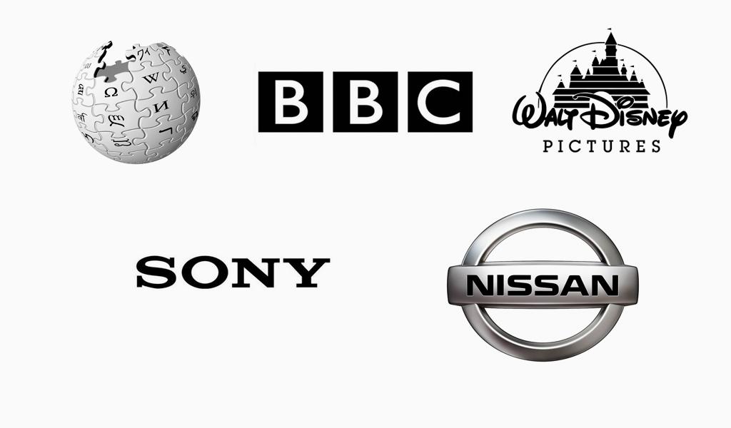 Известные черно-белые логотипы