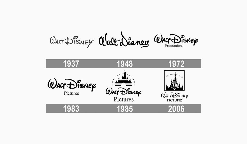 Логотип Дисней разных годов