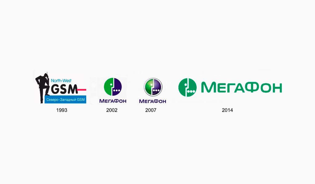 Логотипы Мегафон разных годов
