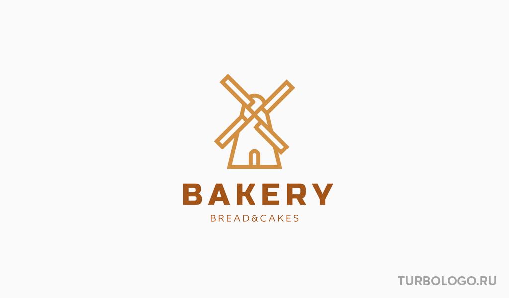 Логотип для пекарни мельница