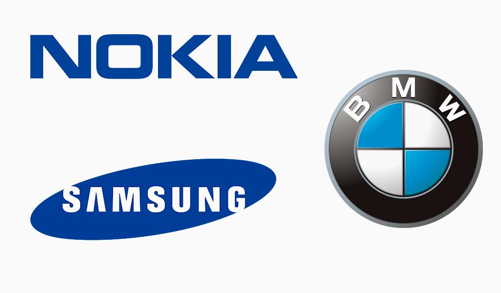 Синие логотипы известных компаний