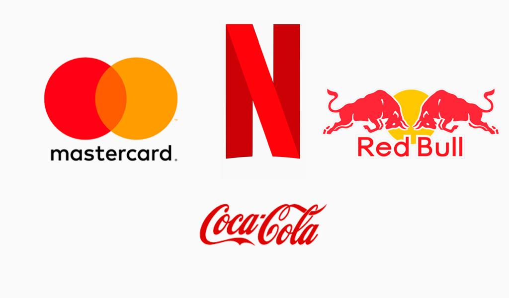 Красные логотипы известных компаний