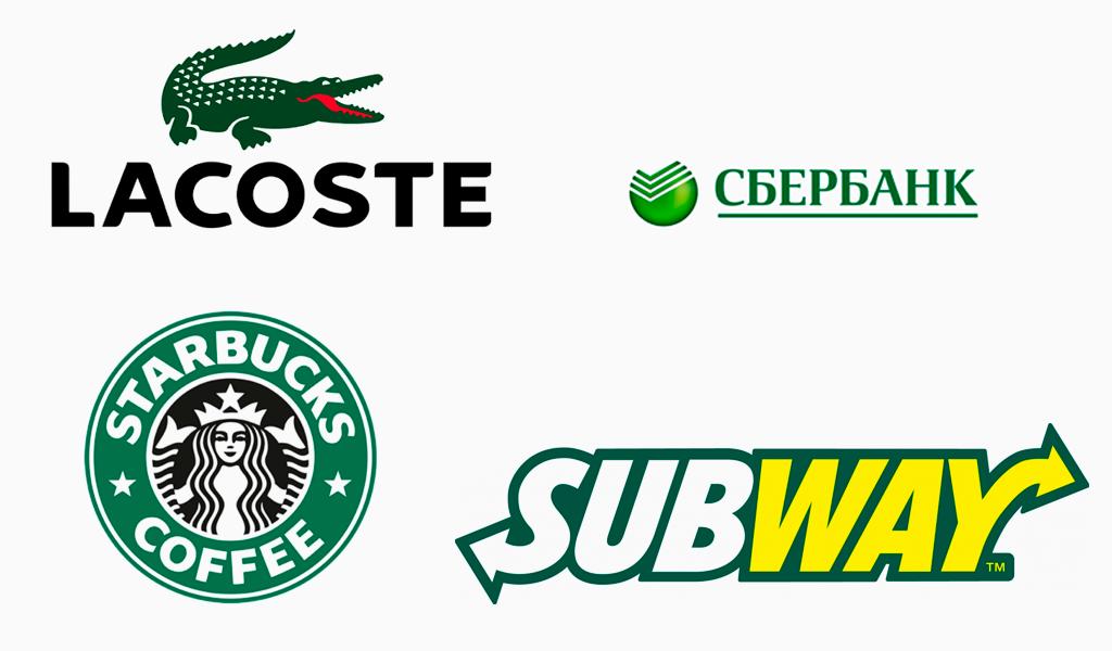 Зеленые логотипы известных компаний