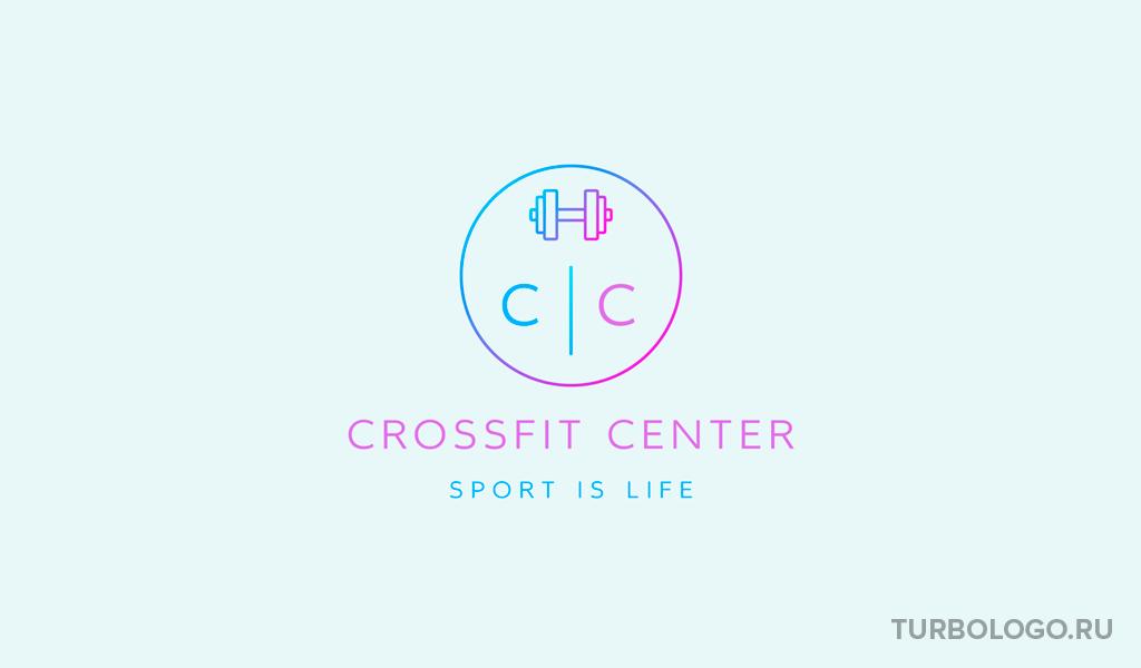 Логотип тренажерного зала гантели