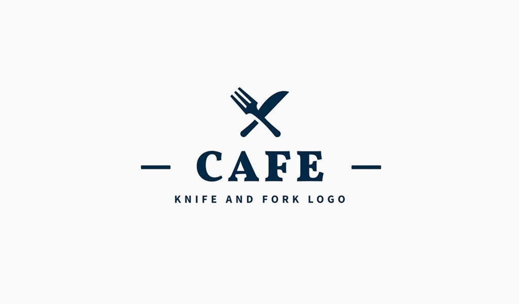Логотип для кафе нож и вилка