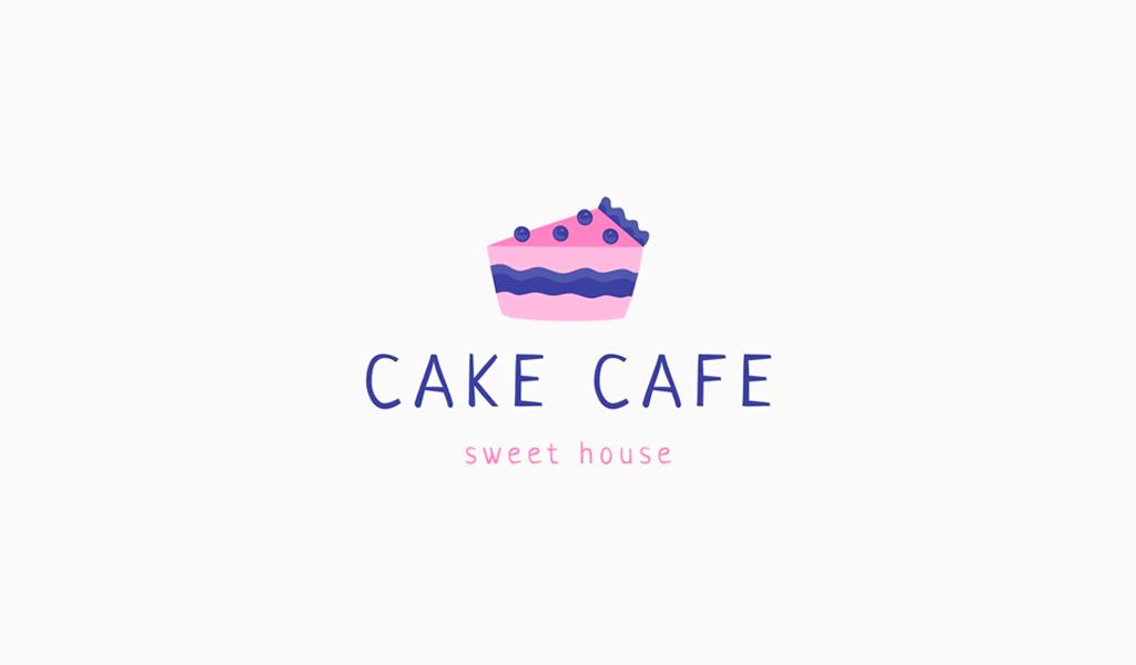 Логотип для кафе кусок торта