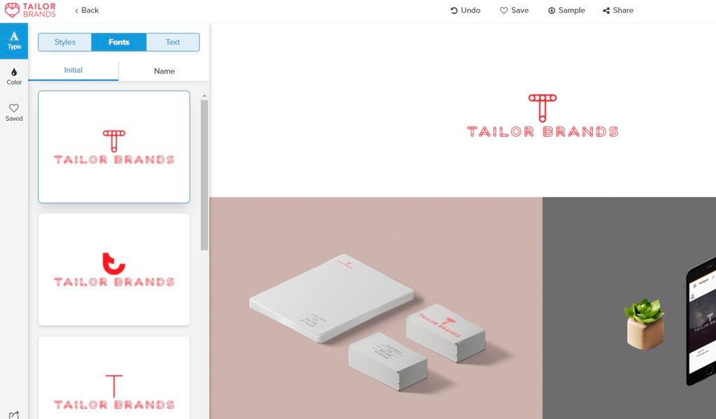 Tailor Brands Кастомизация лого