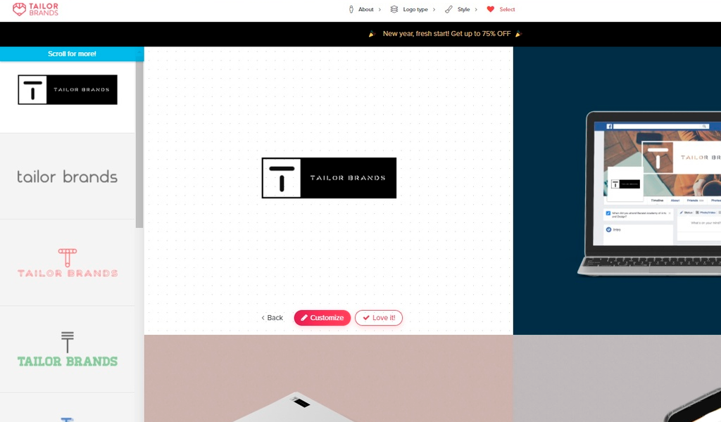 Tailor Brands Выбор дизайна лого