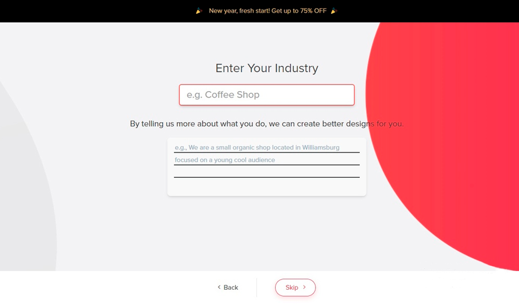 Tailor Brands Выбор индустрии работы компании
