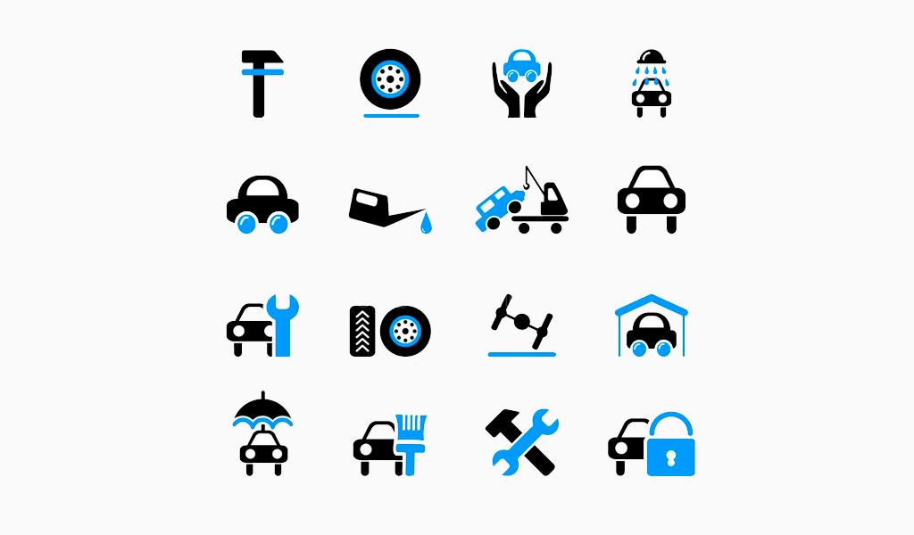 Логотип автосервиса: иконки