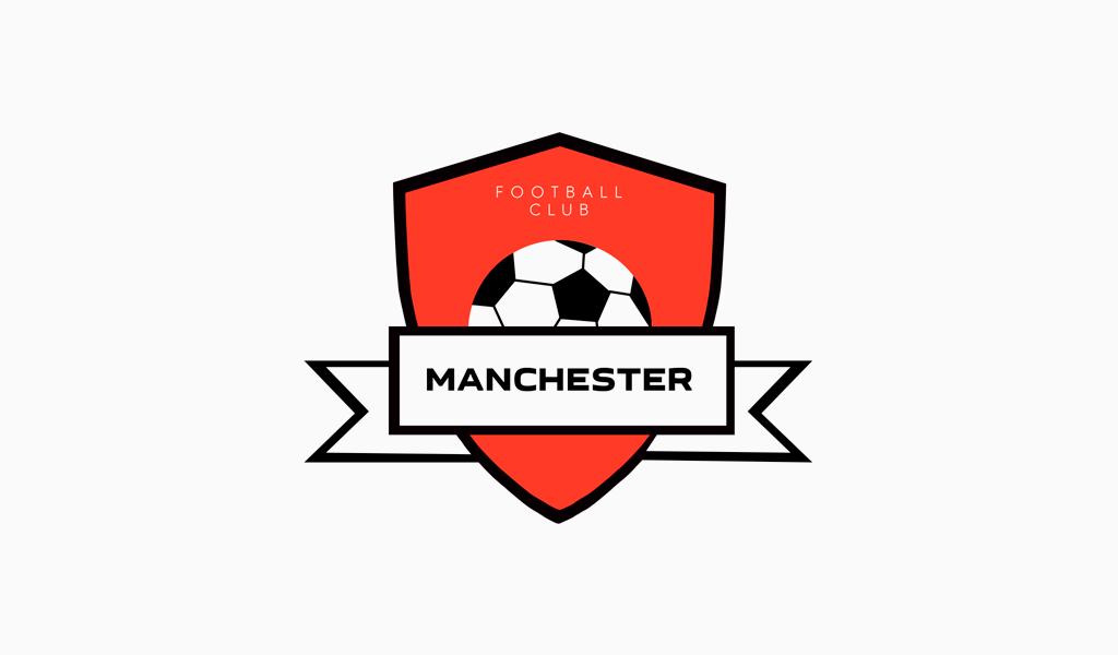 Логотип футбольного клуба: мяч и щит