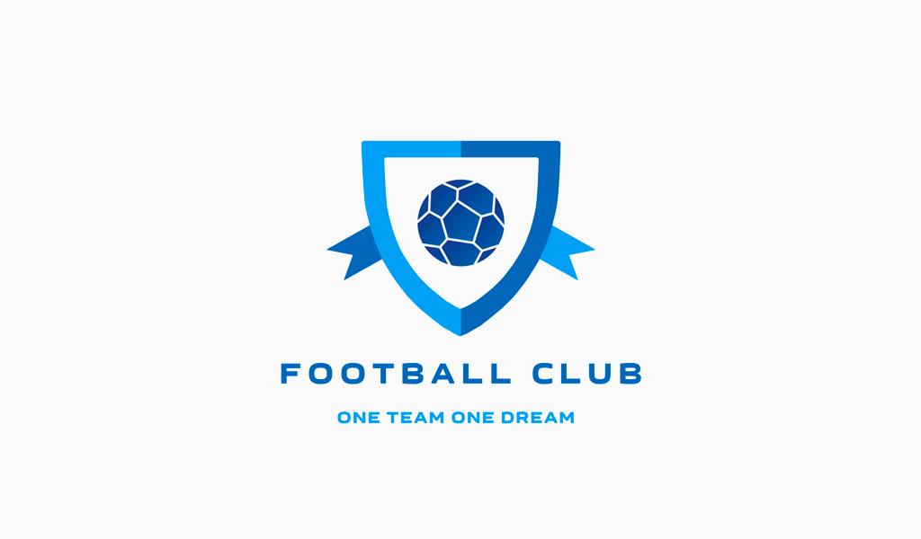 Логотип футбольный спортивной команды: мяч и щит