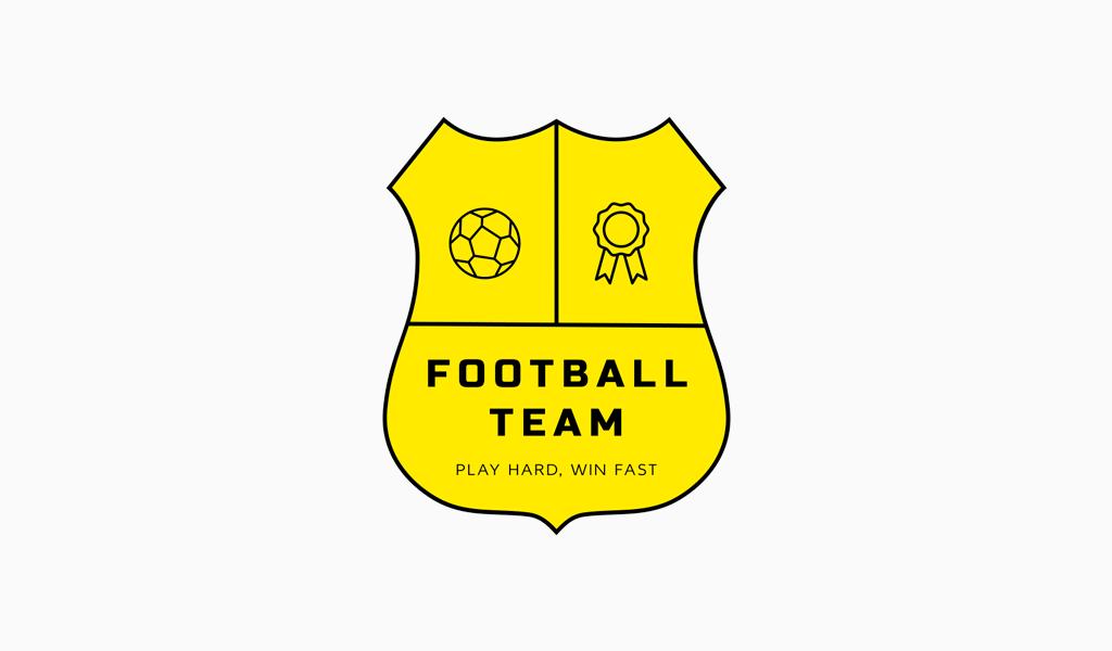 Логотип спортивной команды: щит, мяч и медаль