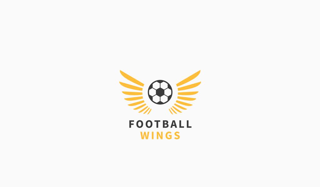 Логотип спортивной футбольной команды: мяч и крылья