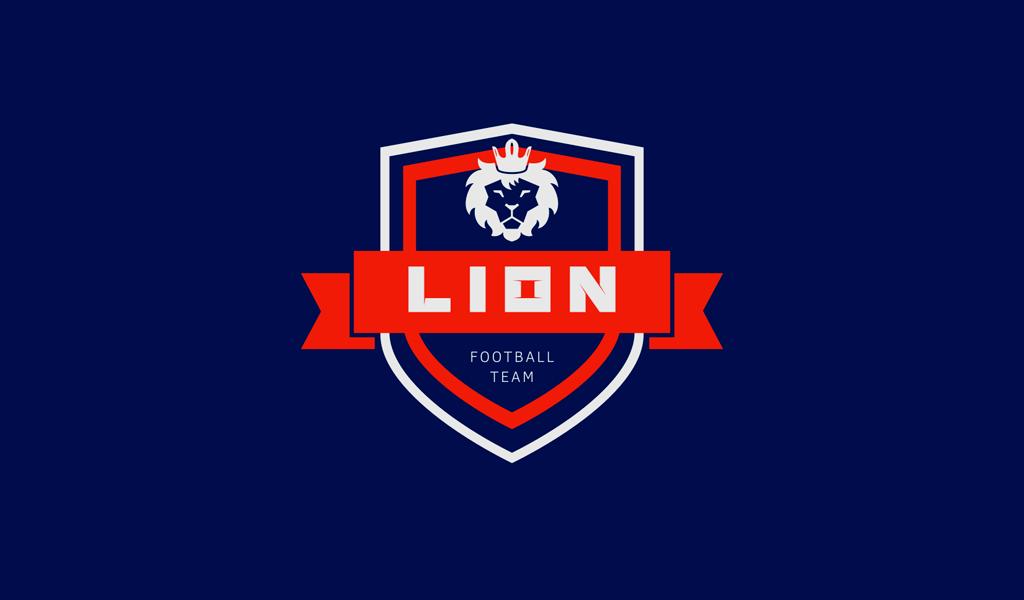 Логотип спортивной футбольной команды: лев