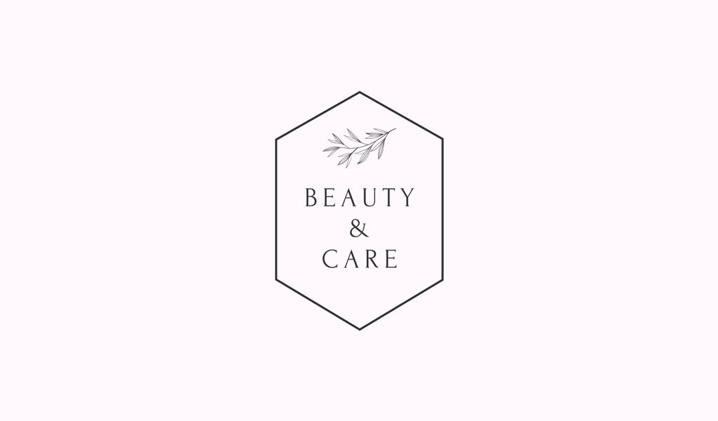 Логотип салона красоты: многоугольник и растение