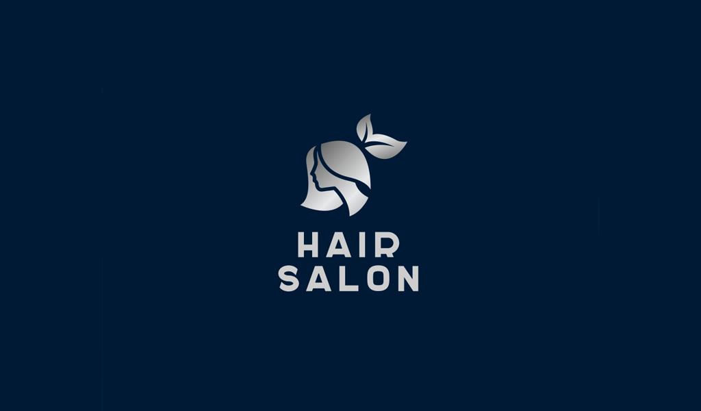 Градиентный логотип салона красоты: девушка