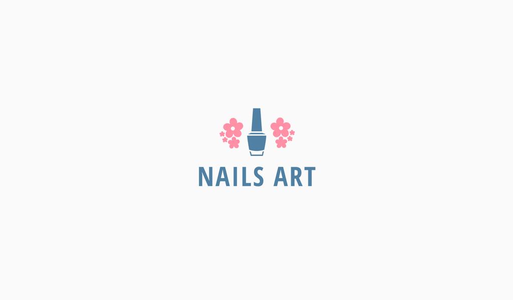 Логотип маникюрного салона: лак для ногтей и цветы