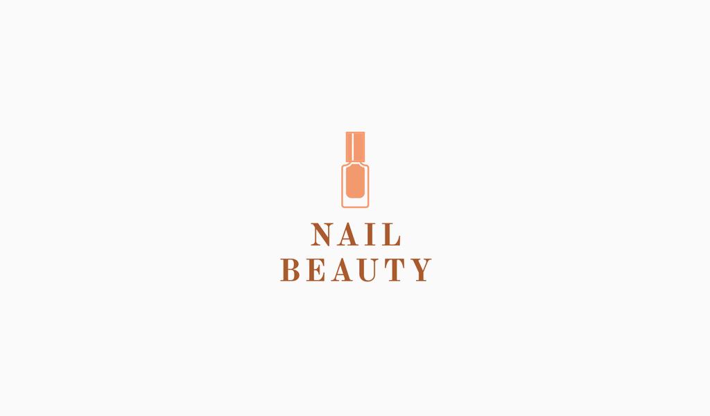 Логотип маникюрного салона: оранжевый лак для ногтей