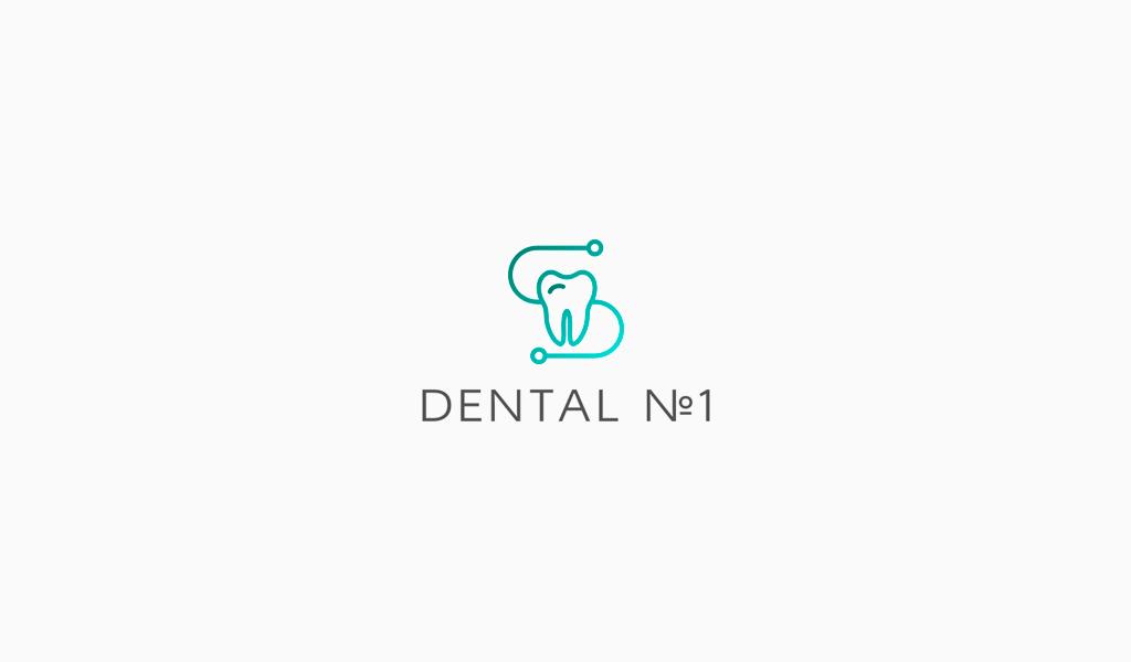 Логотип стоматологической клиники: зуб градиент
