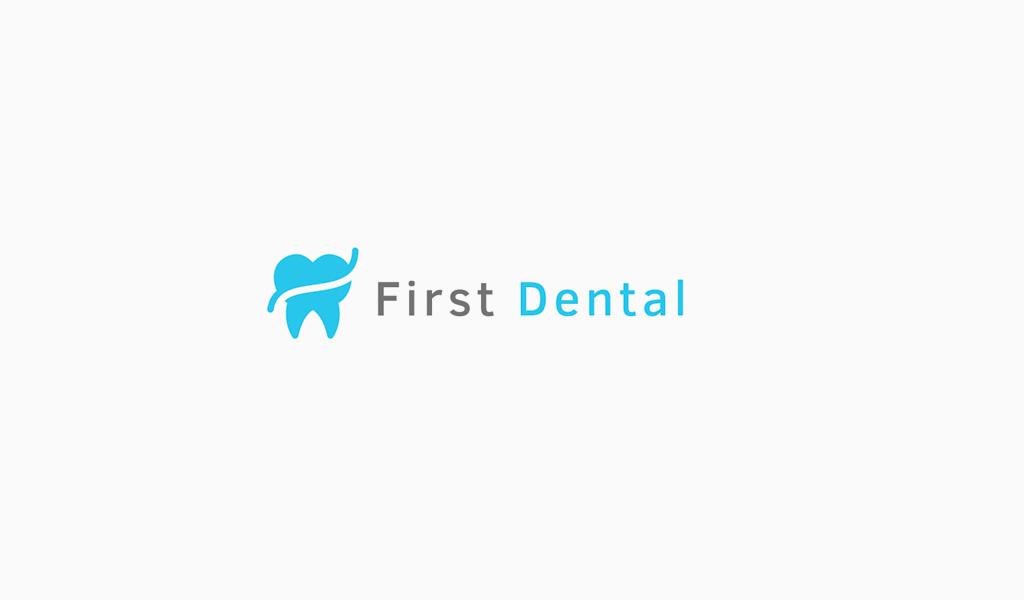 Логотип стоматологической клиники: синий зуб