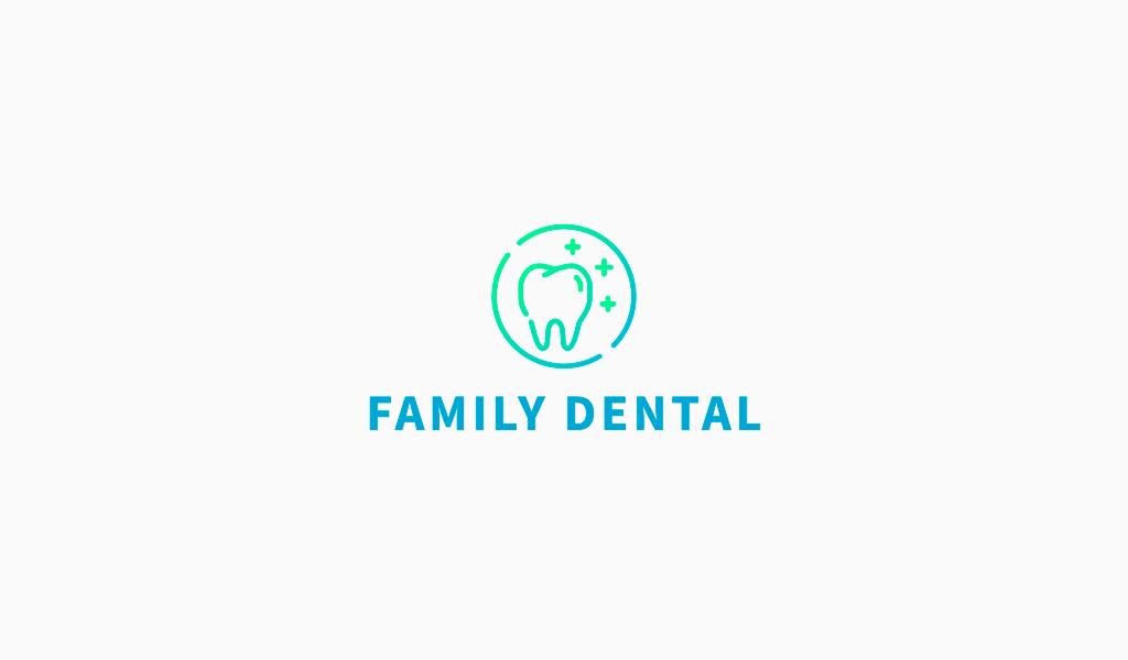 Логотип стоматологии: зуб, градиент
