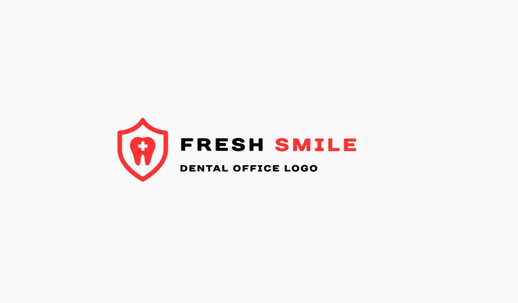 Логотип стоматологии: зуб, щит