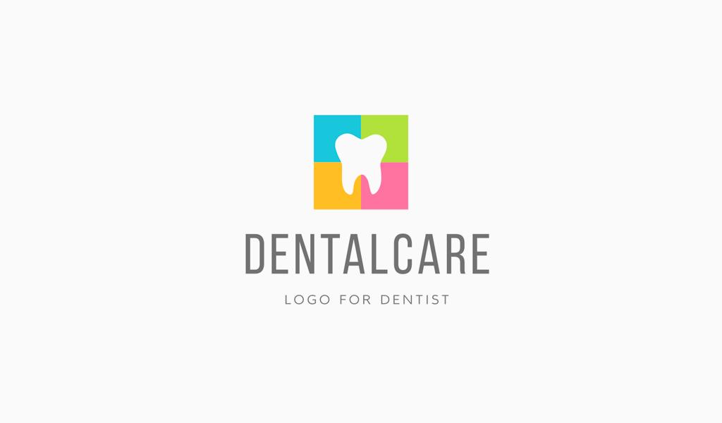 Логотип стоматологической клиники: цветной зуб