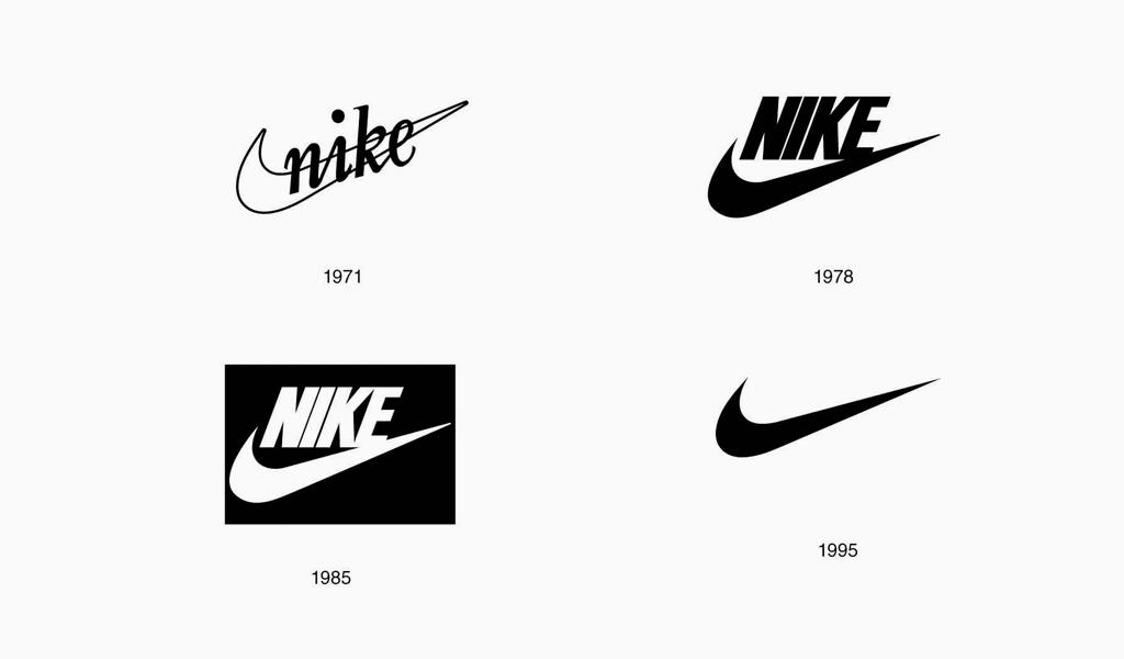 Логотипы Nike разных годов